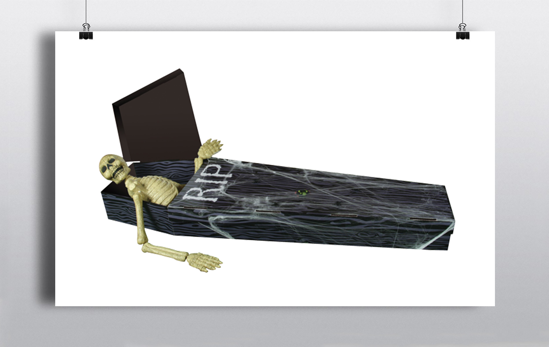 Black Coffin With Skeleton